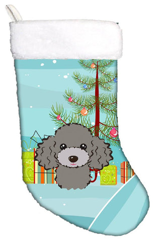 Buy this Christmas Tree and Silver Gray Poodle Christmas Stocking BB1631CS