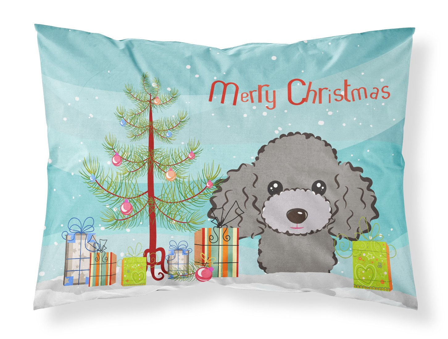 Buy this Christmas Tree and Silver Gray Poodle Fabric Standard Pillowcase BB1631PILLOWCASE
