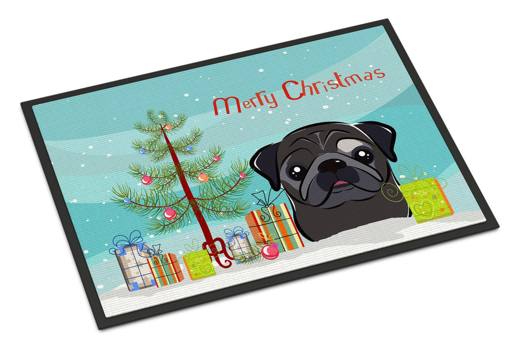 Buy this Christmas Tree and Black Pug Indoor or Outdoor Mat 24x36 BB1635JMAT