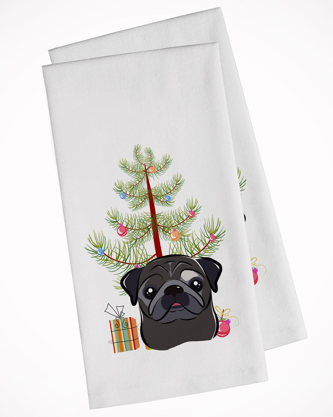 Buy this Christmas Tree and Black Pug White Kitchen Towel Set of 2 BB1635WTKT