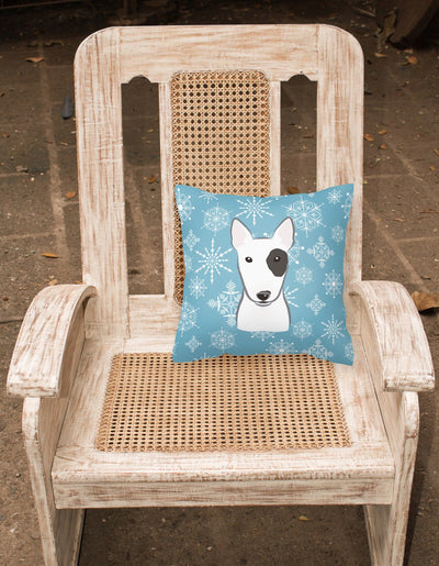 Snowflake Bull Terrier Fabric Decorative Pillow BB1643PW1414