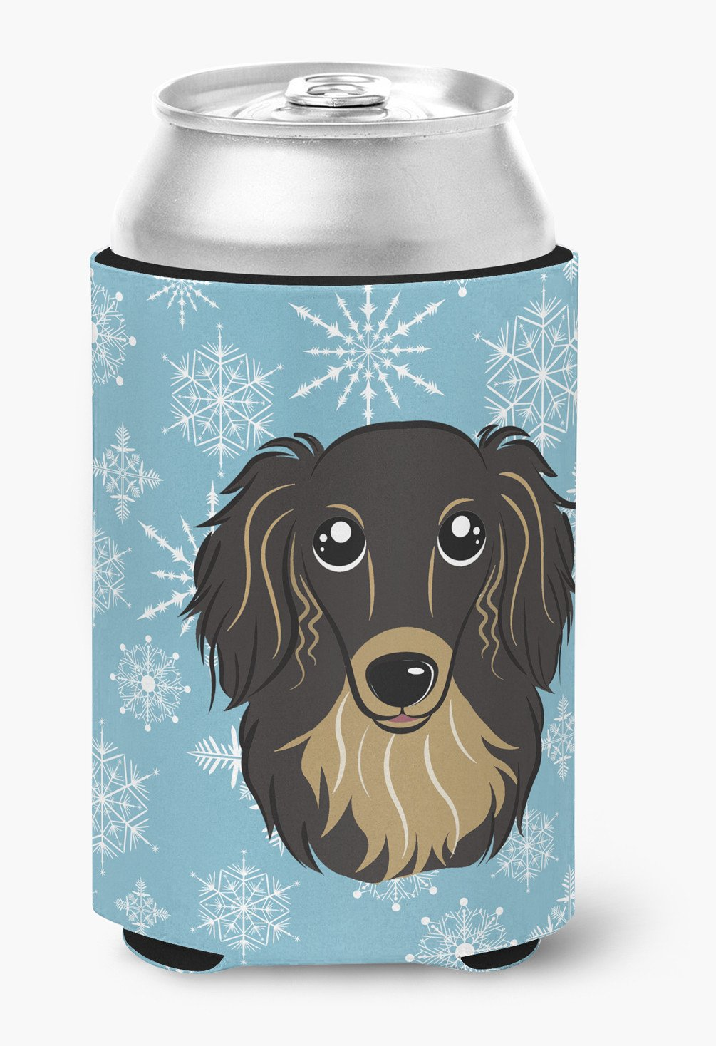 Snowflake Longhair Black and Tan Dachshund Can or Bottle Hugger BB1647CC by Caroline's Treasures