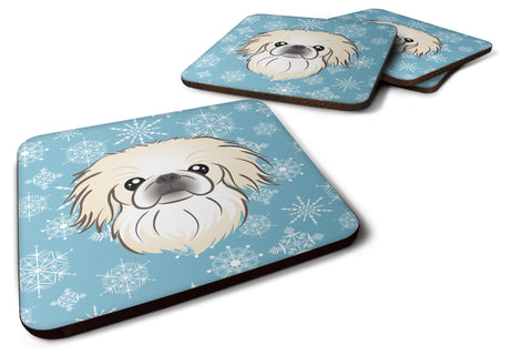 Buy this Set of 4 Snowflake Pekingese Foam Coasters BB1655FC