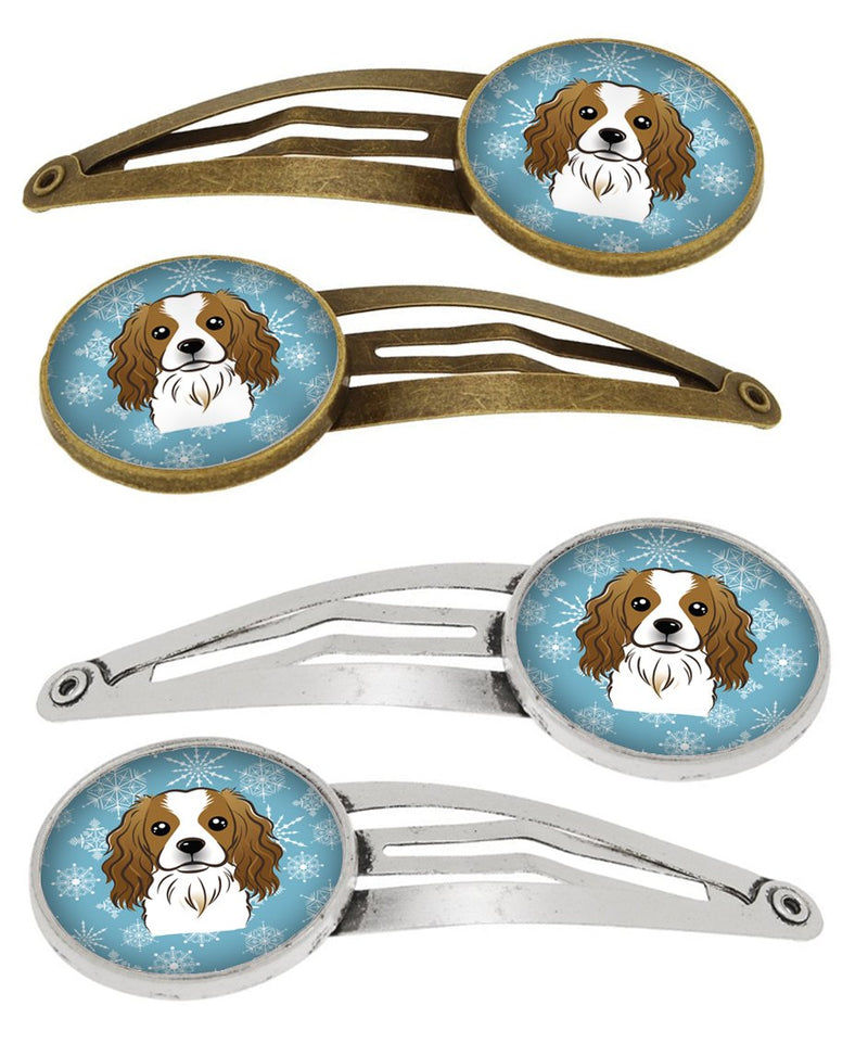 Buy this Snowflake Cavalier Spaniel Set of 4 Barrettes Hair Clips BB1658HCS4