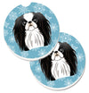 Snowflake Japanese Chin Set of 2 Cup Holder Car Coasters BB1664CARC by Caroline's Treasures