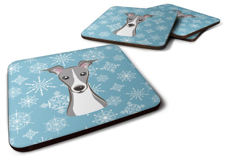 Buy this Set of 4 Snowflake Italian Greyhound Foam Coasters BB1670FC