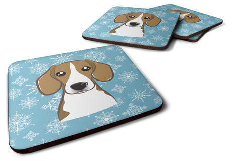Buy this Set of 4 Snowflake Beagle Foam Coasters BB1673FC