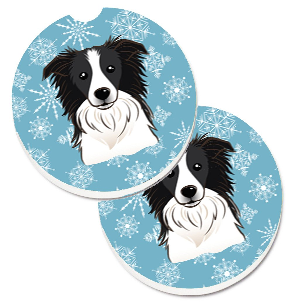 Snowflake Border Collie Set of 2 Cup Holder Car Coasters BB1675CARC by Caroline's Treasures