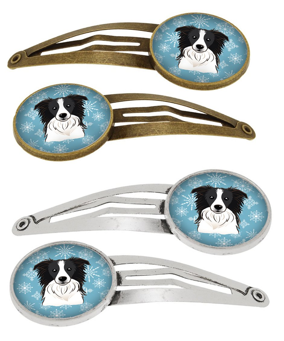 Snowflake Border Collie Set of 4 Barrettes Hair Clips BB1675HCS4 by Caroline's Treasures