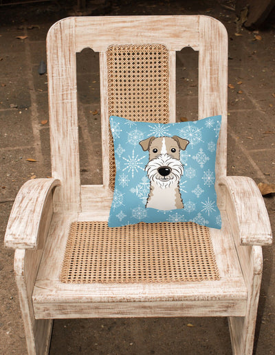 Snowflake Wire Haired Fox Terrier Fabric Decorative Pillow BB1681PW1414