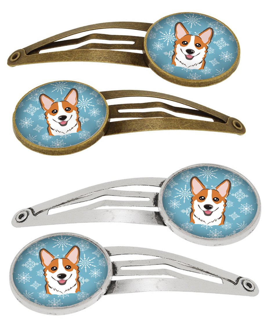 Snowflake Red Corgi Set of 4 Barrettes Hair Clips BB1688HCS4 by Caroline's Treasures