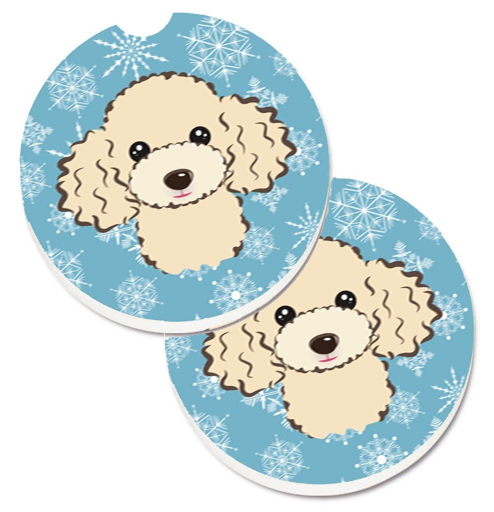 Buy this Snowflake Buff Poodle Set of 2 Cup Holder Car Coasters BB1692CARC