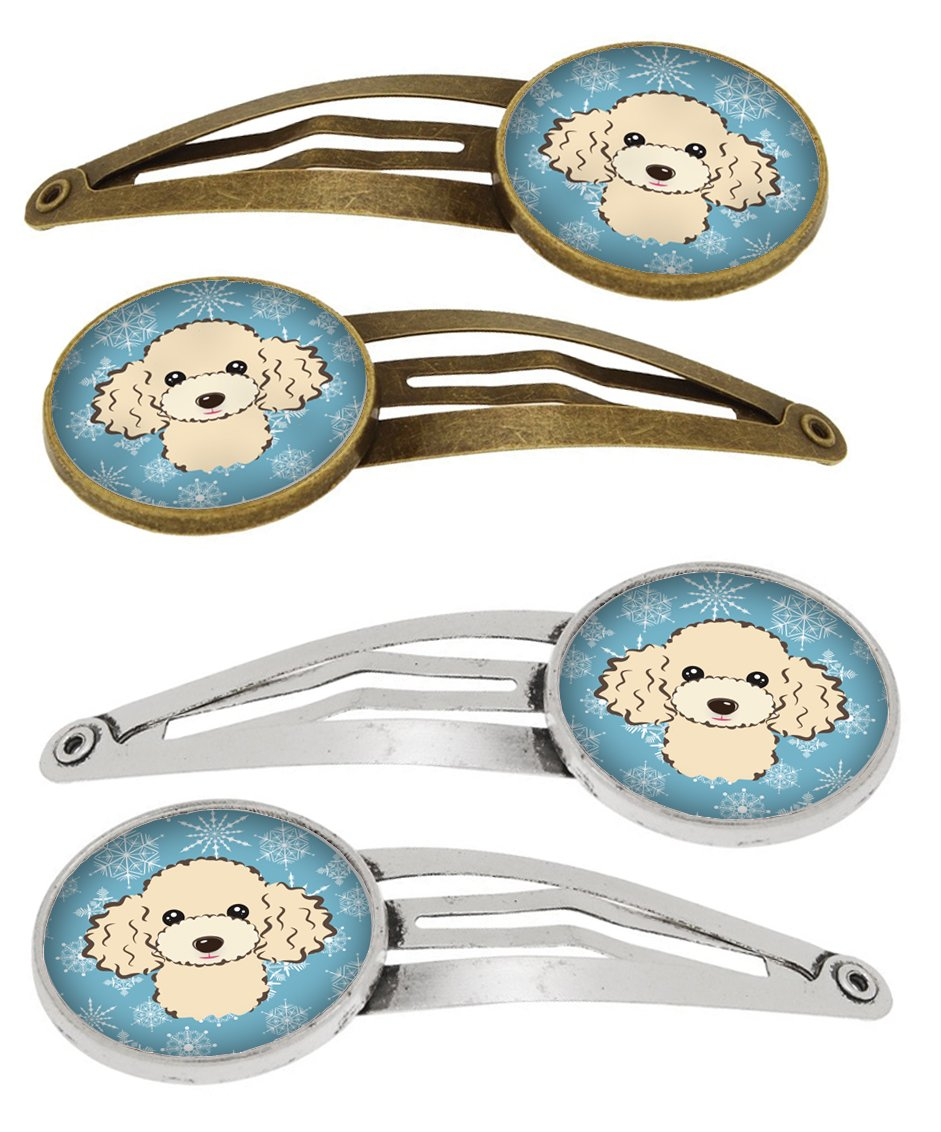 Buy this Snowflake Buff Poodle Set of 4 Barrettes Hair Clips BB1692HCS4