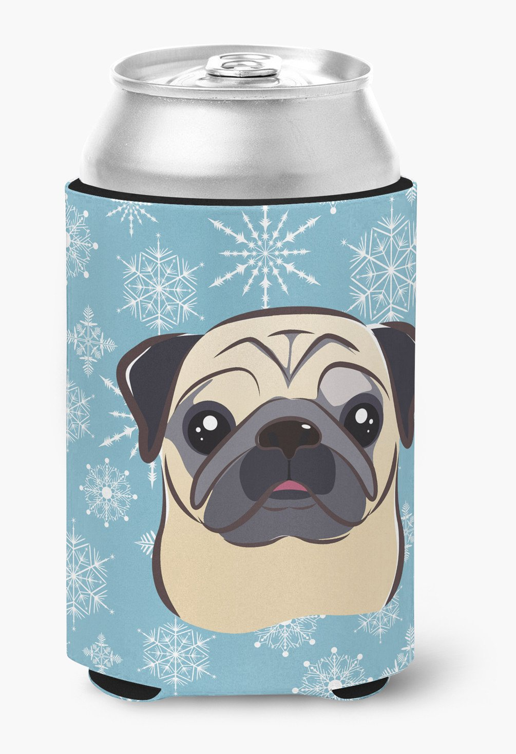 Snowflake Fawn Pug Can or Bottle Hugger BB1696CC by Caroline's Treasures
