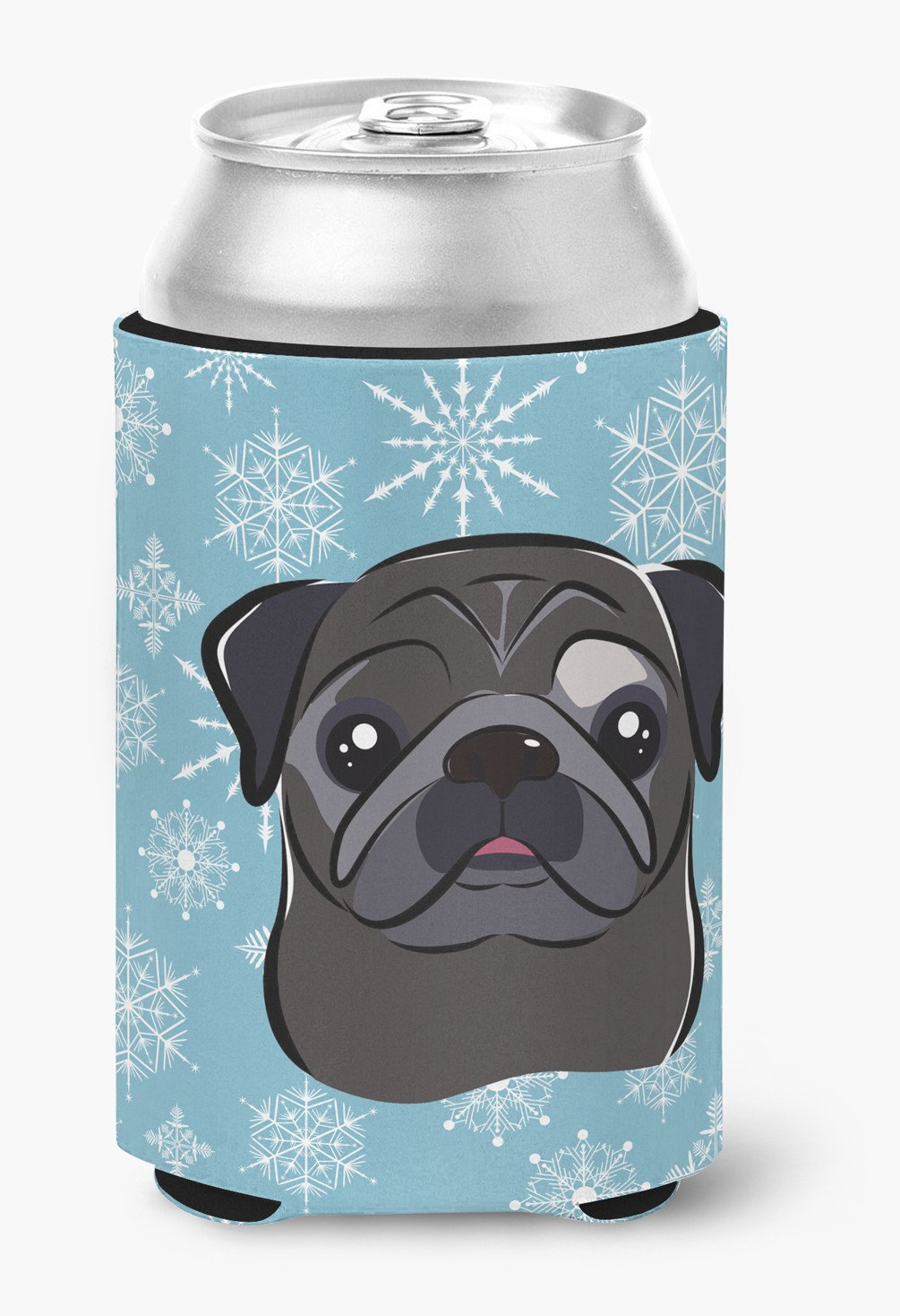 Snowflake Black Pug Can or Bottle Hugger BB1697CC by Caroline's Treasures