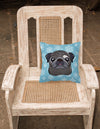 Snowflake Black Pug Fabric Decorative Pillow BB1697PW1414 - the-store.com