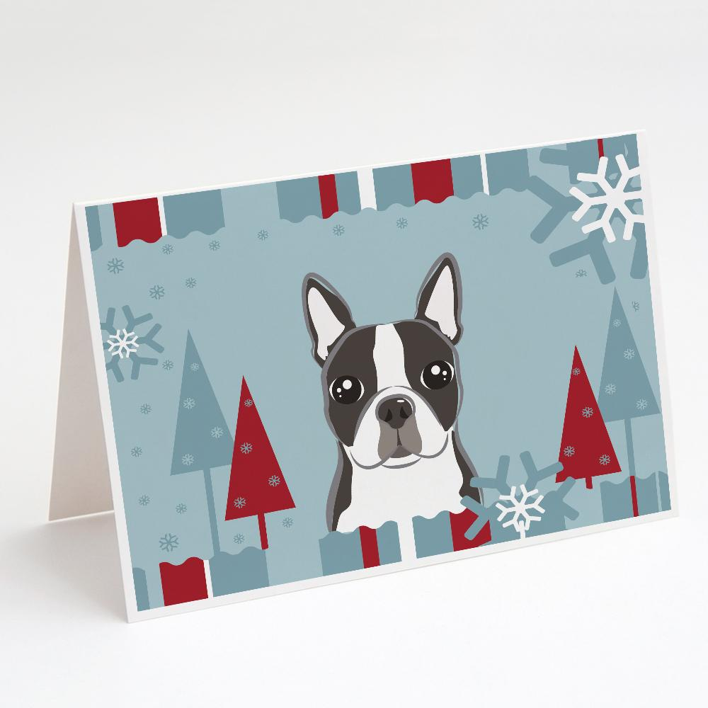 Buy this Winter Holiday Boston Terrier Greeting Cards and Envelopes Pack of 8