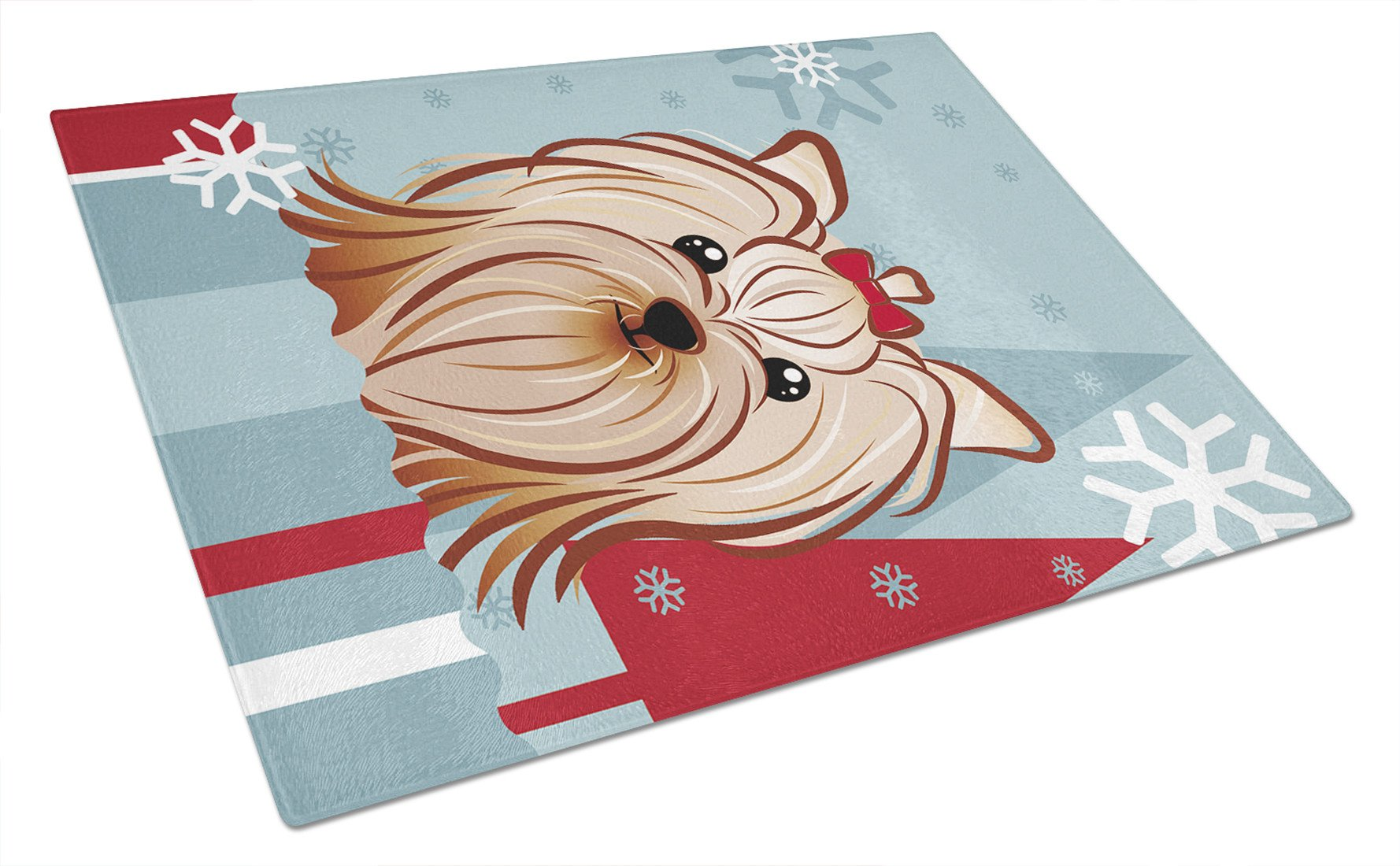 Winter Holiday Yorkie Yorkshire Terrier Glass Cutting Board Large BB1700LCB by Caroline's Treasures