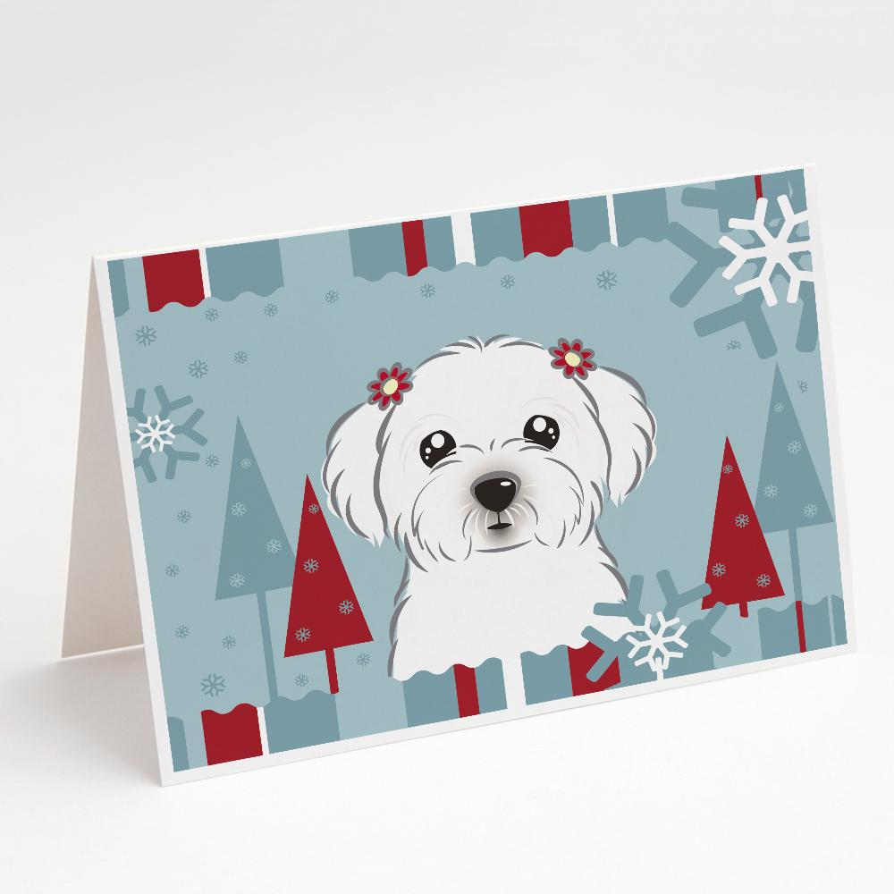 Buy this Winter Holiday Maltese Greeting Cards and Envelopes Pack of 8