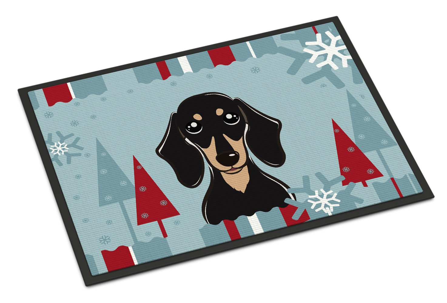Winter Holiday Smooth Black and Tan Dachshund Indoor or Outdoor Mat 18x27 BB1711MAT - the-store.com