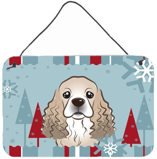 Winter Holiday Cocker Spaniel Wall or Door Hanging Prints BB1712DS812 by Caroline's Treasures