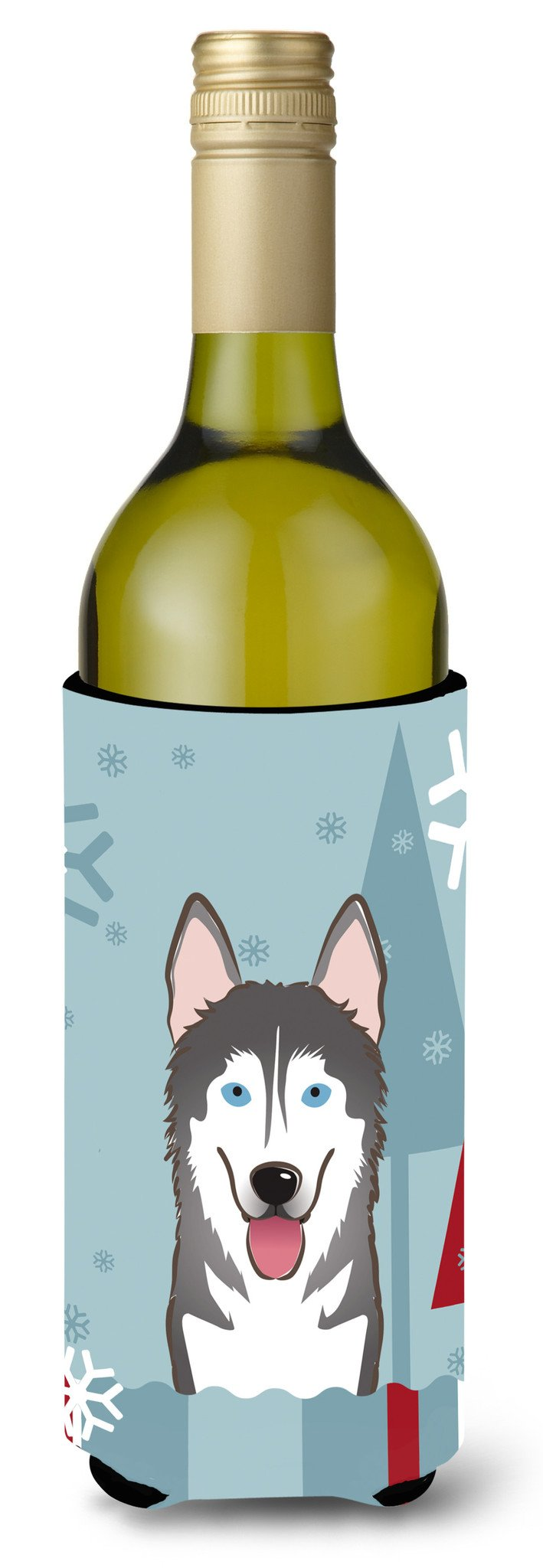 Winter Holiday Alaskan Malamute Wine Bottle Beverage Insulator Hugger BB1714LITERK by Caroline's Treasures