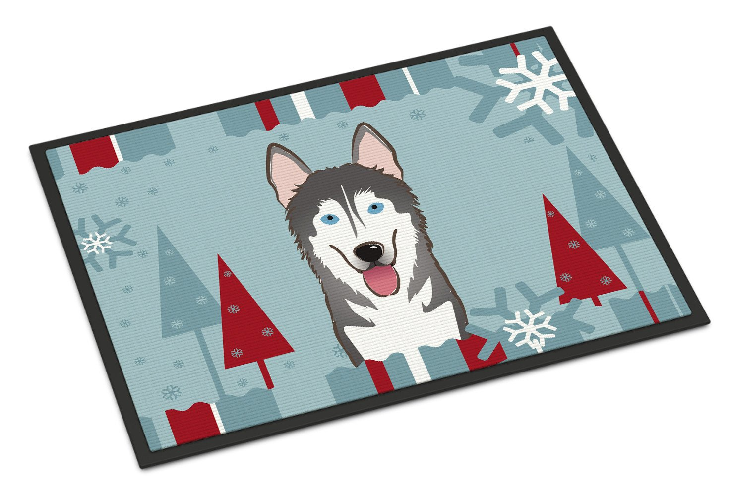 Winter Holiday Alaskan Malamute Indoor or Outdoor Mat 18x27 BB1714MAT - the-store.com