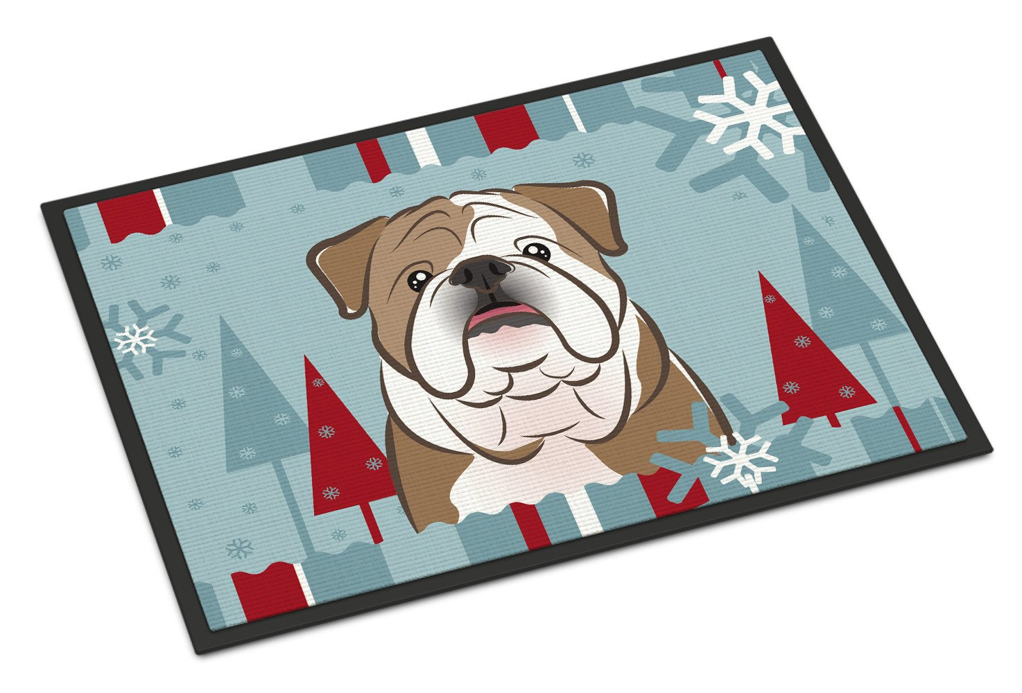 Winter Holiday English Bulldog  Indoor or Outdoor Mat 18x27 BB1715MAT - the-store.com