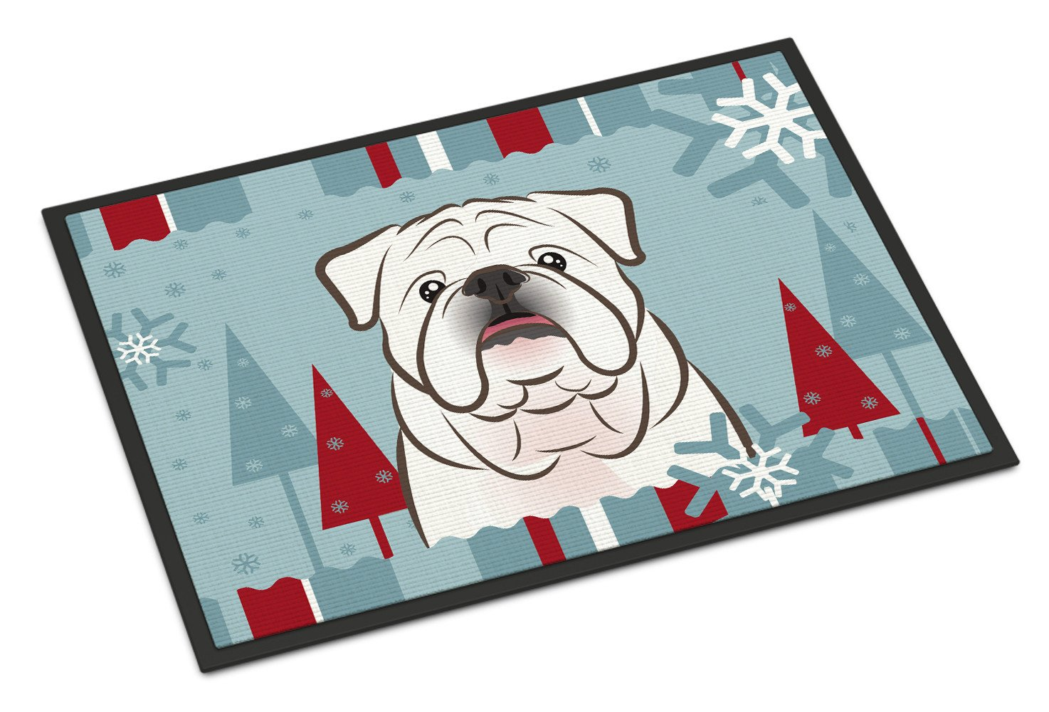 Winter Holiday White English Bulldog  Indoor or Outdoor Mat 18x27 BB1716MAT - the-store.com