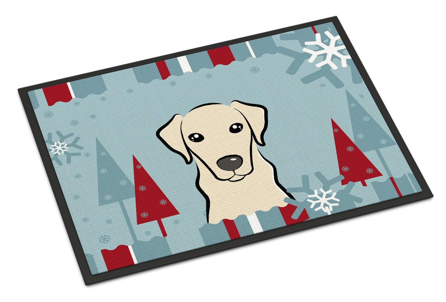 Winter Holiday Yellow Labrador Indoor or Outdoor Mat 18x27 BB1718MAT - the-store.com