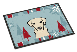 Buy this Winter Holiday Yellow Labrador Indoor or Outdoor Mat 18x27 BB1718MAT