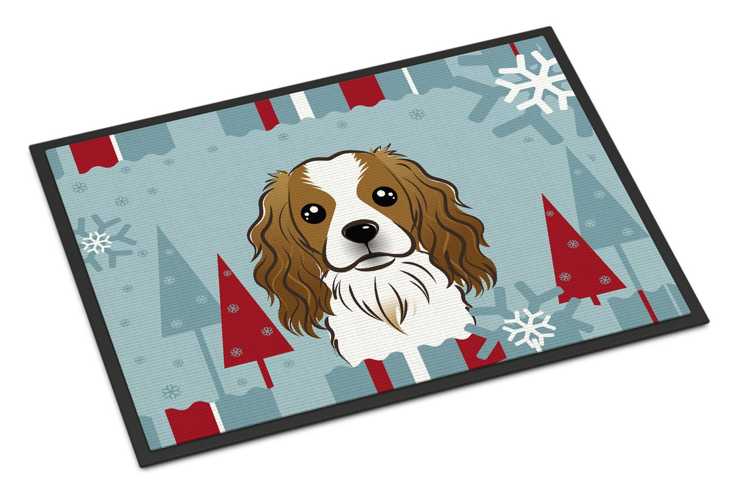 Winter Holiday Cavalier Spaniel Indoor or Outdoor Mat 18x27 BB1720MAT - the-store.com