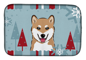 Buy this Winter Holiday Shiba Inu Dish Drying Mat BB1721DDM