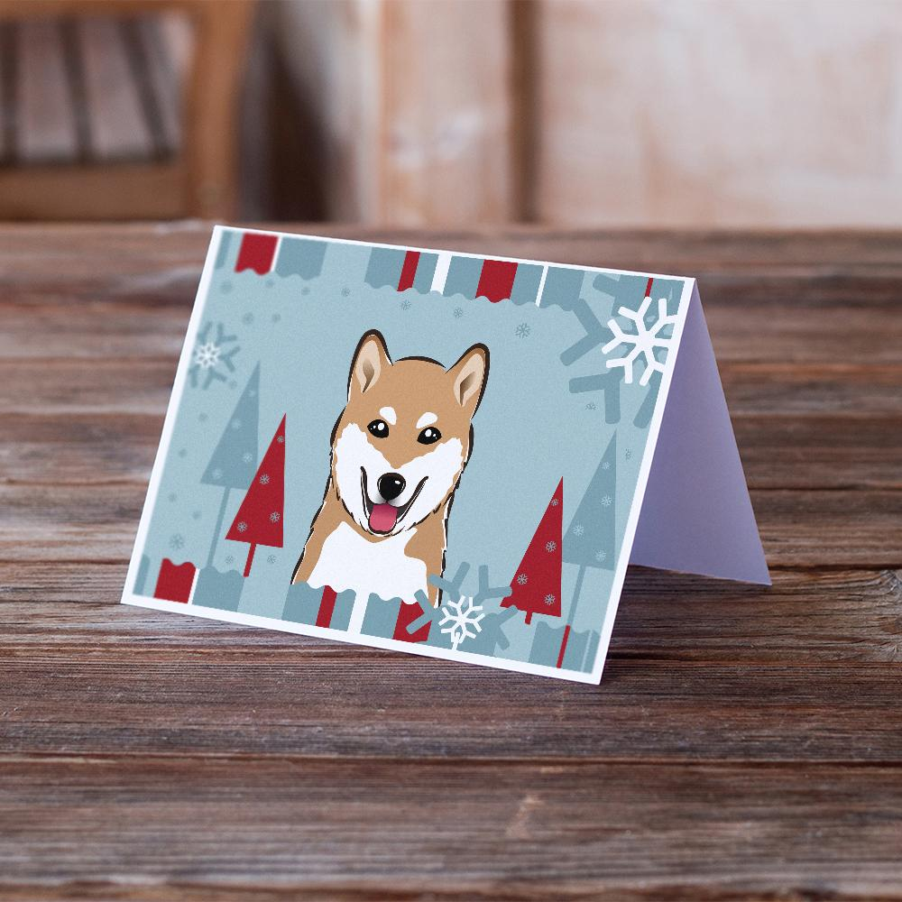 Buy this Winter Holiday Shiba Inu Greeting Cards and Envelopes Pack of 8