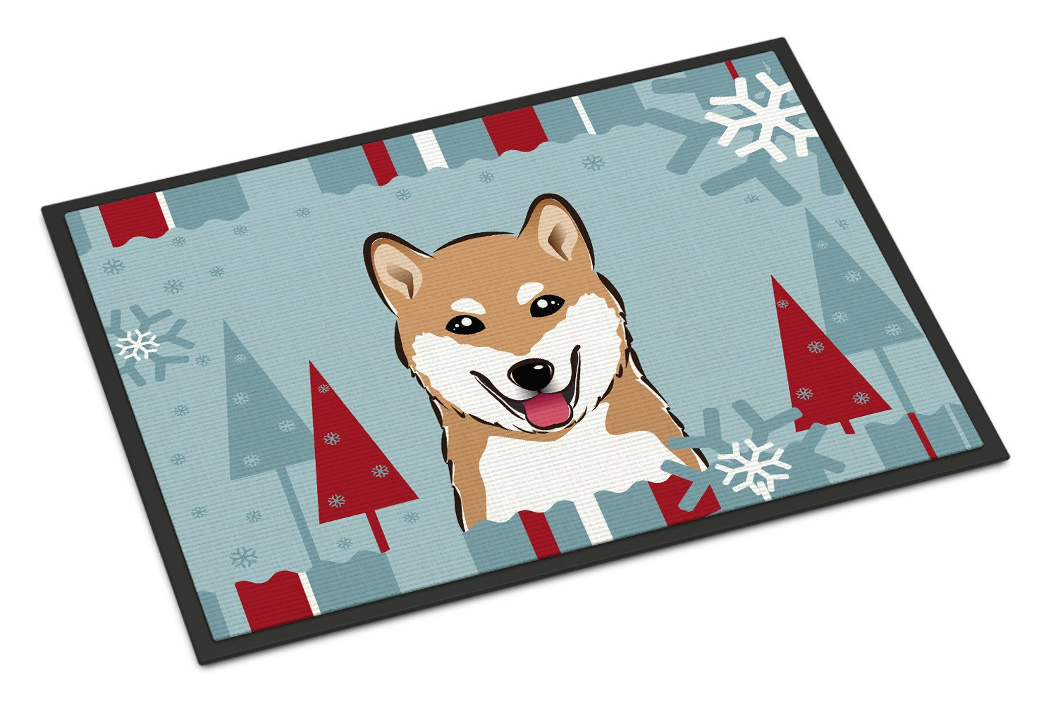 Winter Holiday Shiba Inu Indoor or Outdoor Mat 18x27 BB1721MAT - the-store.com