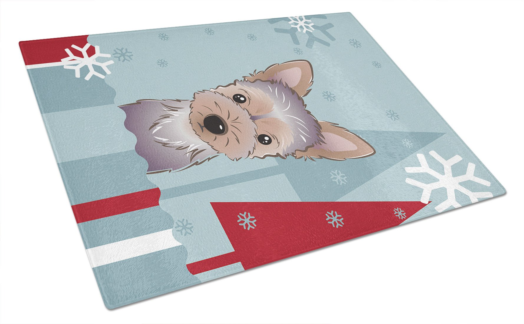 Winter Holiday Yorkie Puppy Glass Cutting Board Large BB1728LCB by Caroline's Treasures