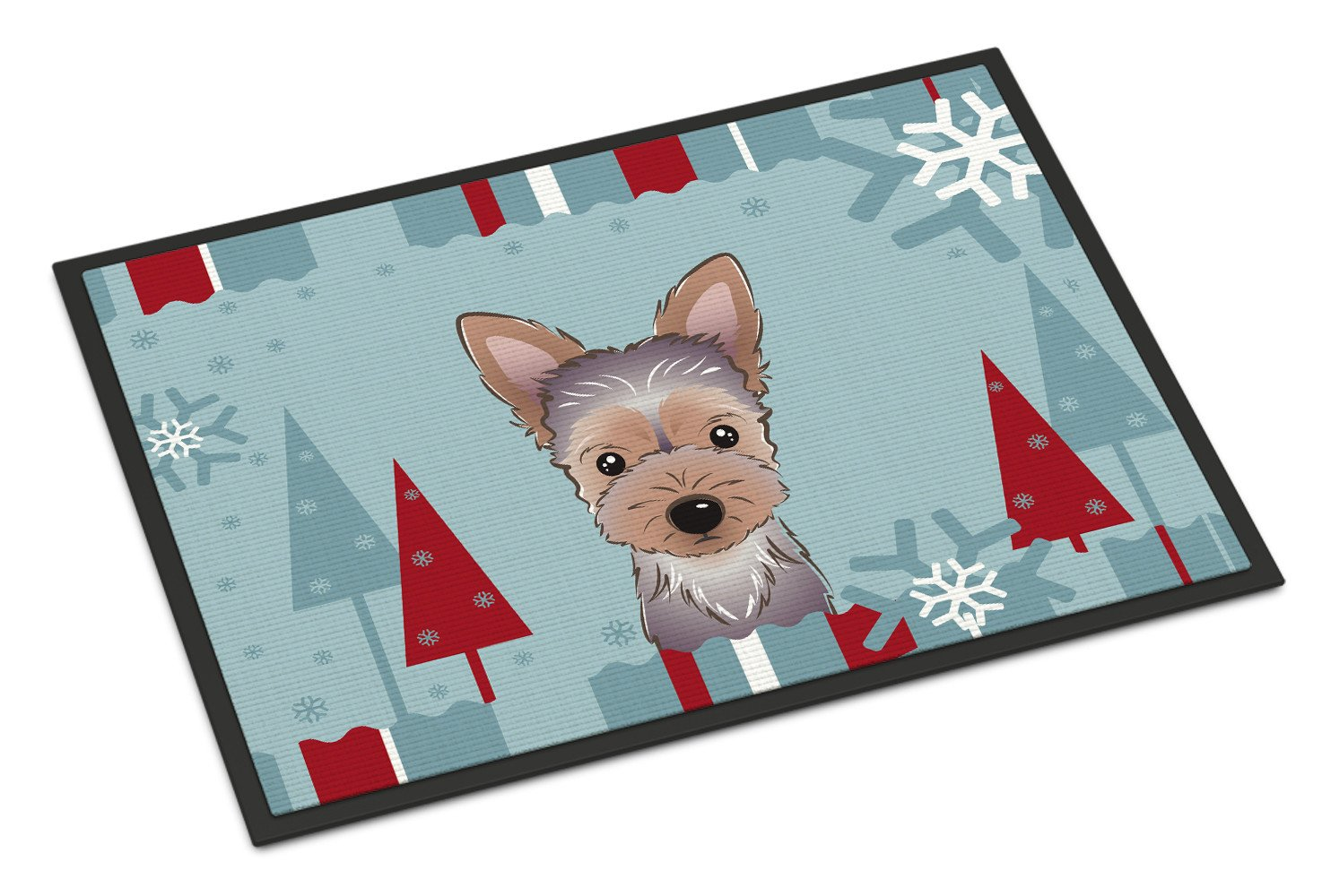 Winter Holiday Yorkie Puppy Indoor or Outdoor Mat 18x27 BB1728MAT - the-store.com