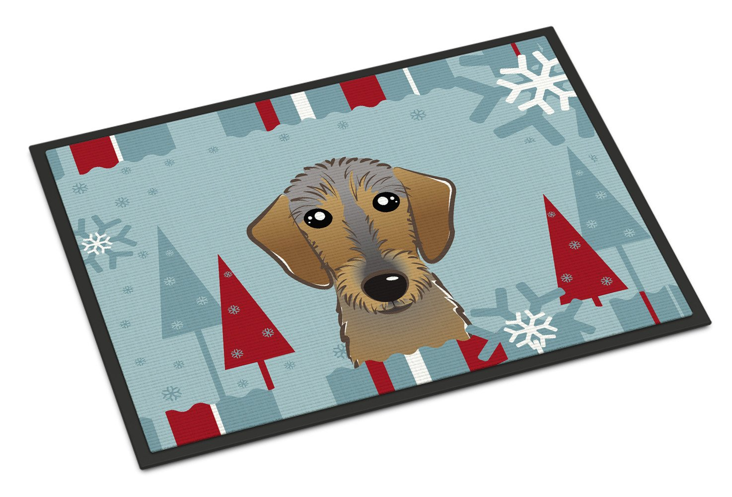 Winter Holiday Wirehaired Dachshund Indoor or Outdoor Mat 18x27 BB1729MAT - the-store.com