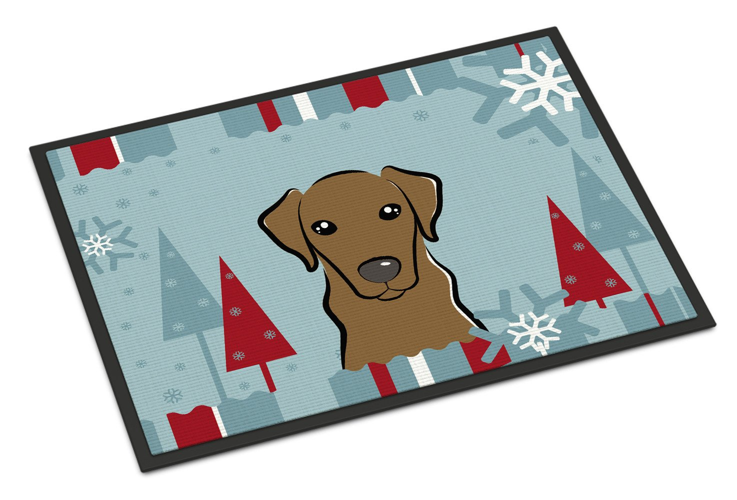 Winter Holiday Chocolate Labrador Indoor or Outdoor Mat 18x27 BB1730MAT - the-store.com