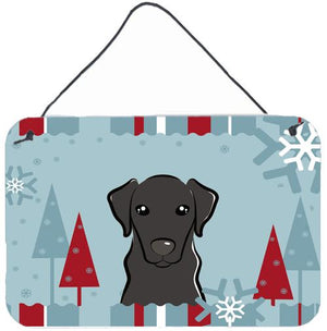 Buy this Winter Holiday Black Labrador Wall or Door Hanging Prints BB1731DS812