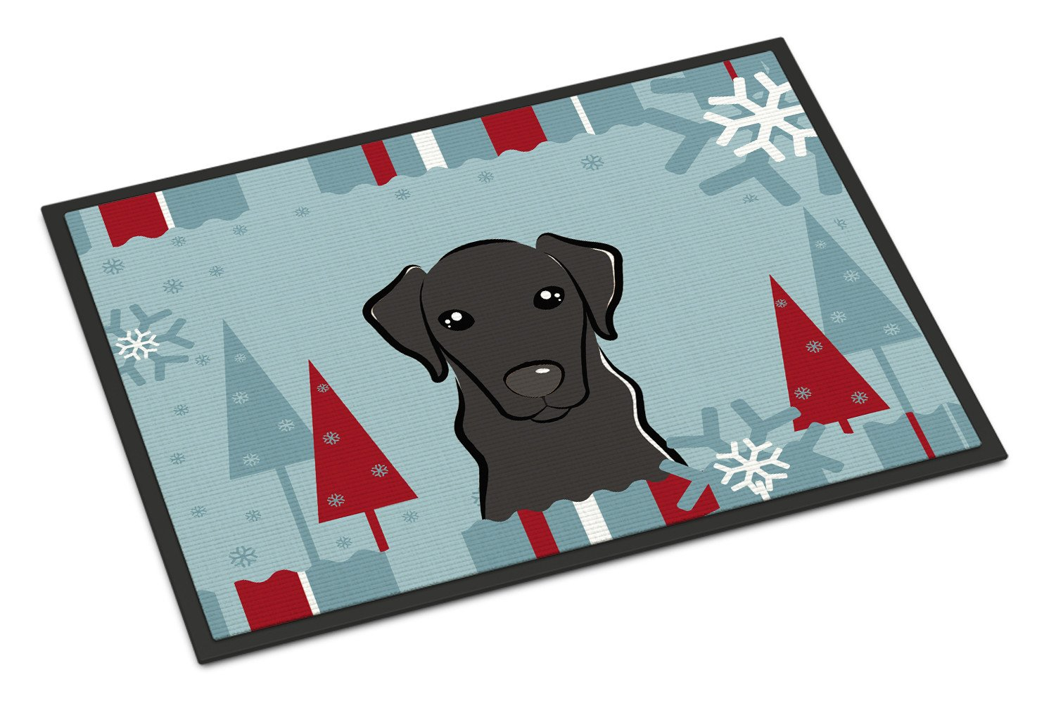 Winter Holiday Black Labrador Indoor or Outdoor Mat 18x27 BB1731MAT - the-store.com