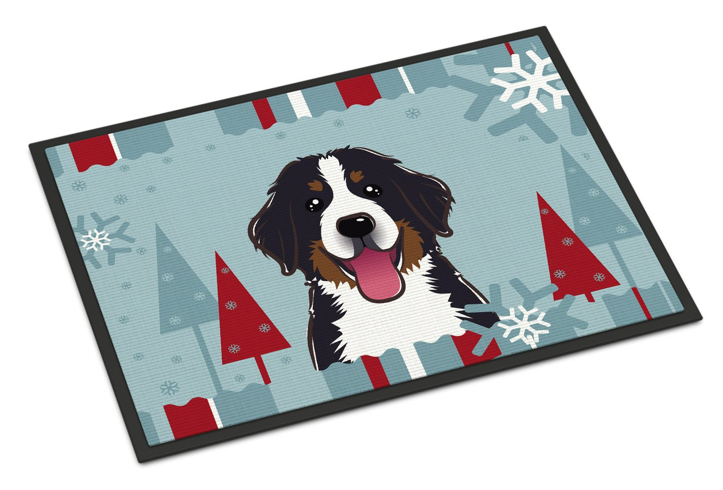 Winter Holiday Bernese Mountain Dog Indoor or Outdoor Mat 18x27 BB1733MAT - the-store.com