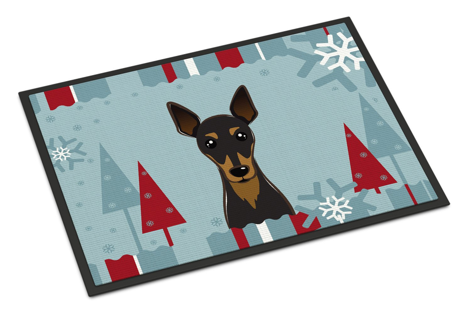 Winter Holiday Min Pin Indoor or Outdoor Mat 18x27 BB1736MAT - the-store.com