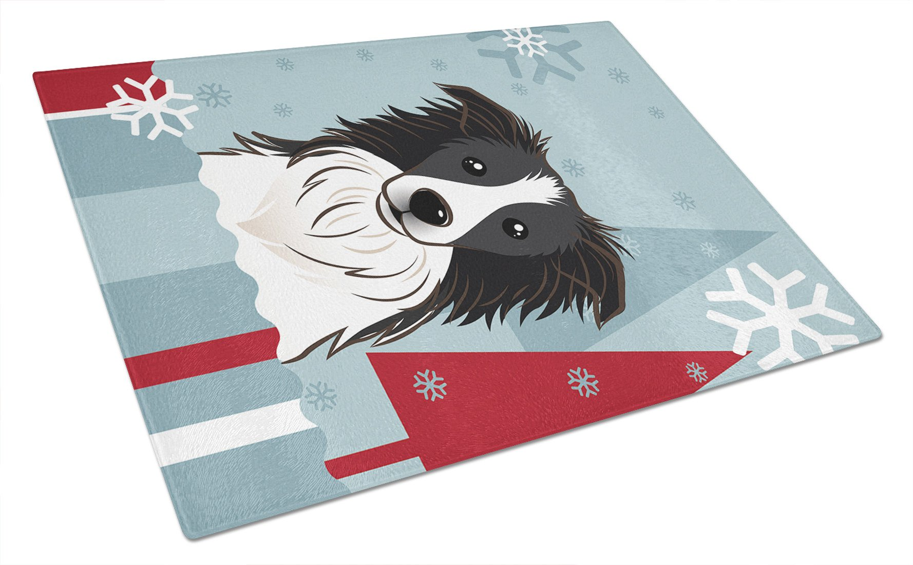 Winter Holiday Border Collie Glass Cutting Board Large BB1737LCB by Caroline's Treasures