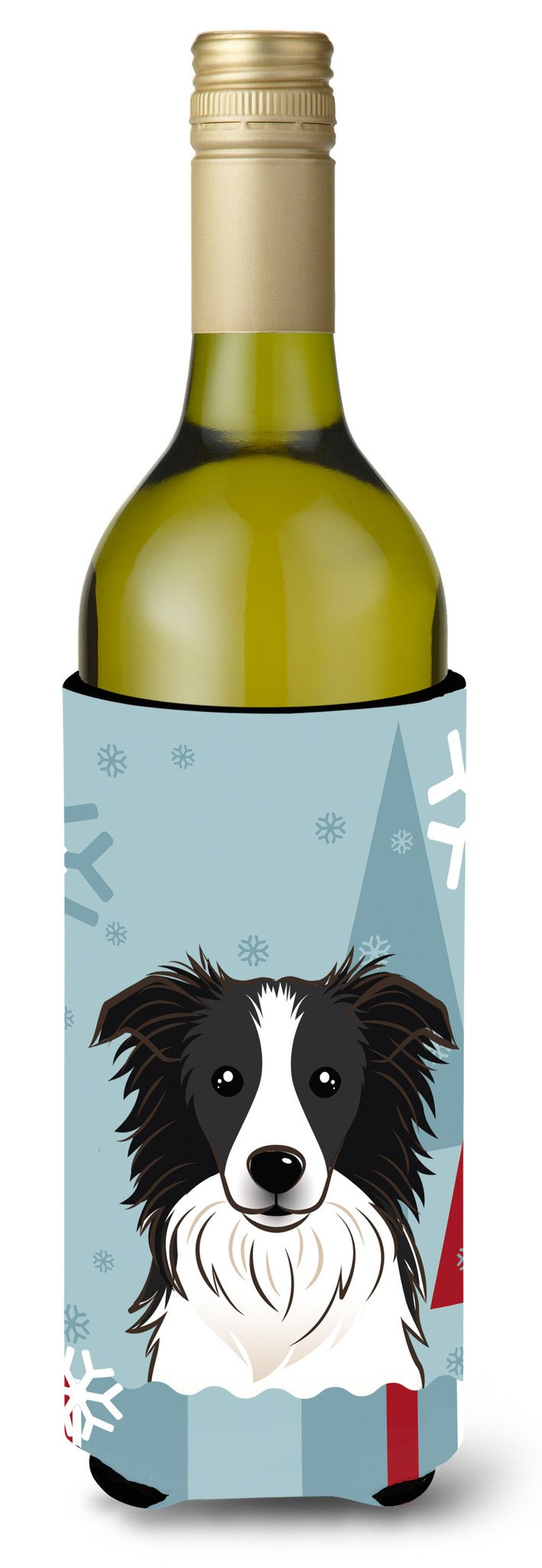 Winter Holiday Border Collie Wine Bottle Beverage Insulator Hugger BB1737LITERK by Caroline's Treasures