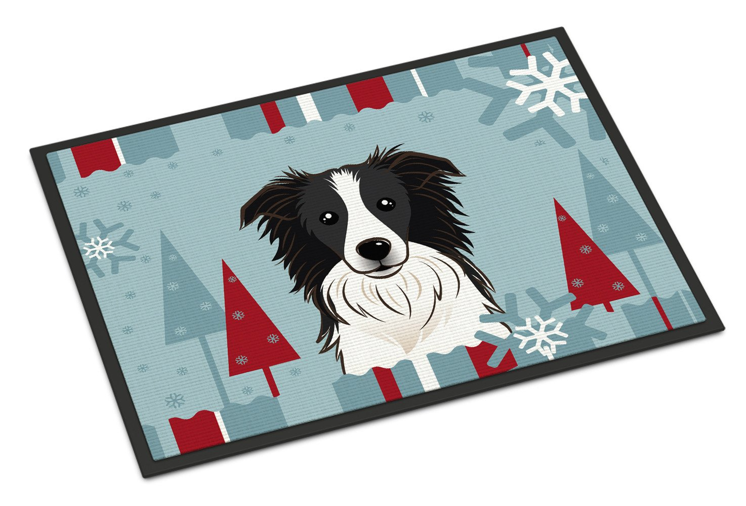 Winter Holiday Border Collie Indoor or Outdoor Mat 18x27 BB1737MAT - the-store.com