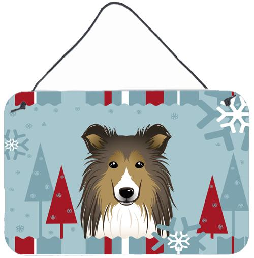 Buy this Winter Holiday Sheltie Wall or Door Hanging Prints BB1738DS812
