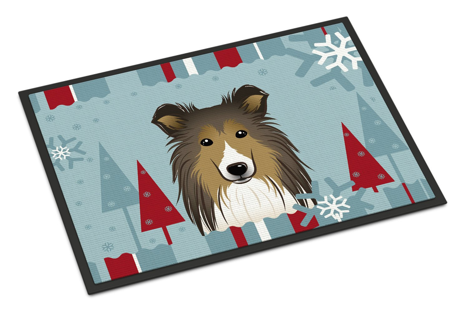 Winter Holiday Sheltie Indoor or Outdoor Mat 18x27 BB1738MAT - the-store.com