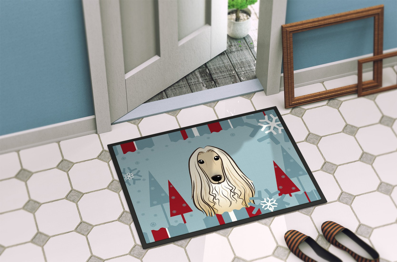 Winter Holiday Afghan Hound Indoor or Outdoor Mat 18x27 BB1740MAT - the-store.com