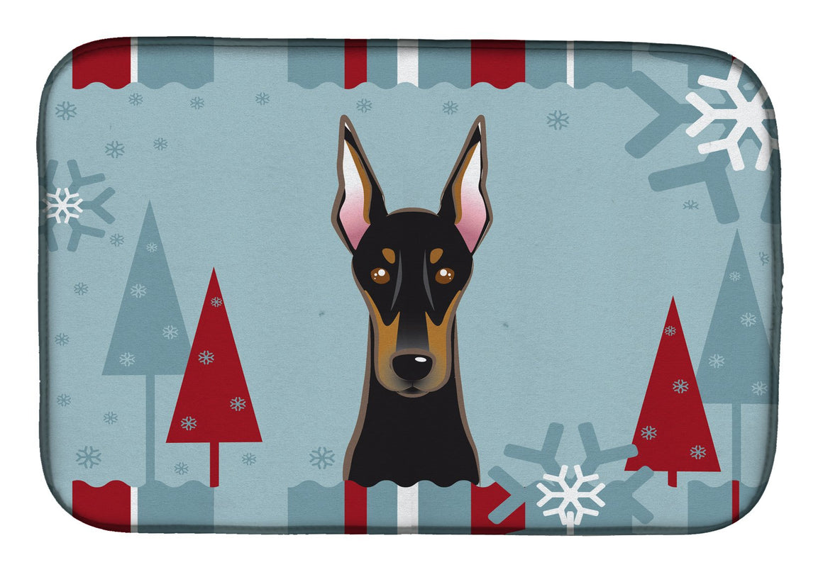 Buy this Winter Holiday Doberman Dish Drying Mat BB1741DDM